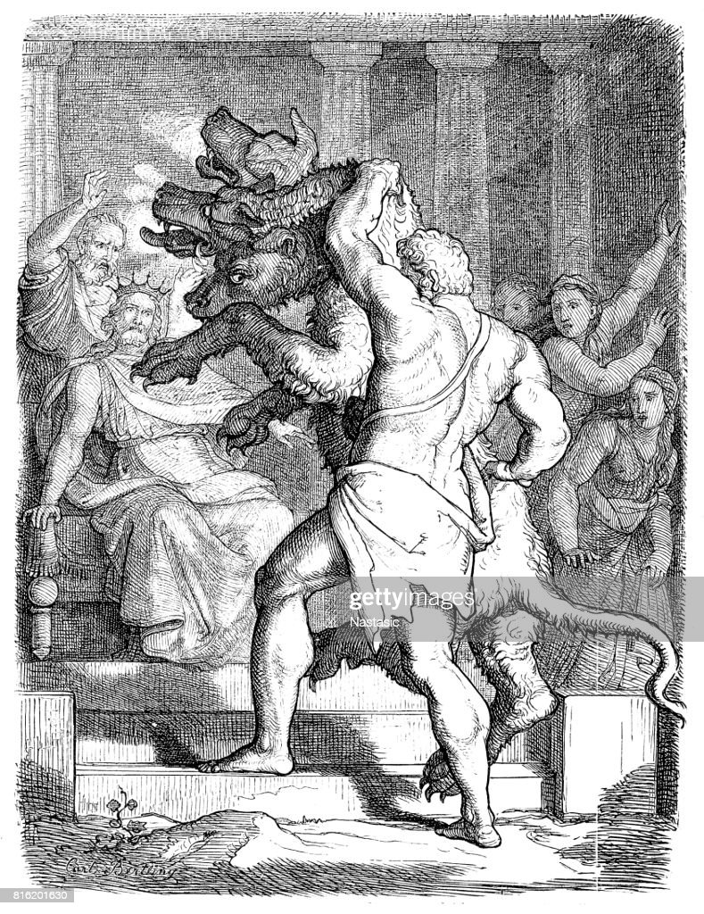 Hercules with Cerberus in front of king Eurystheus : stock illustration