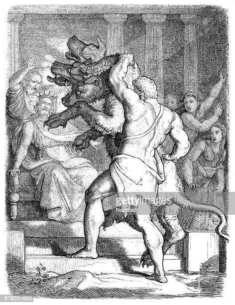 hercules with cerberus in front of king eurystheus - greek mythology stock illustrations, clip art, cartoons, & icons