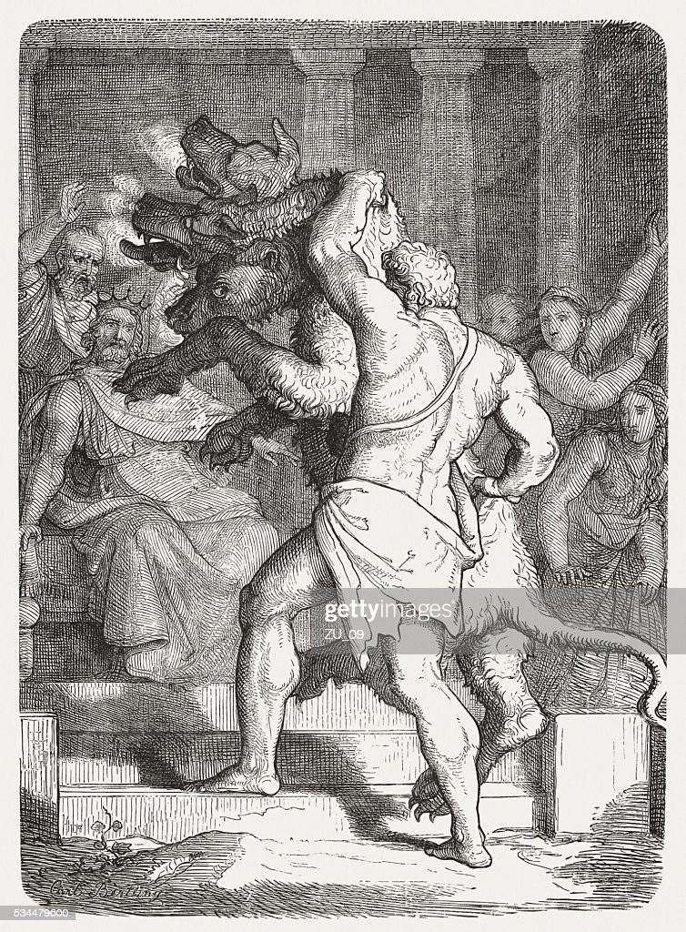 Hercules with Cerberus in front of king Eurystheus, published 1880 : stock illustration