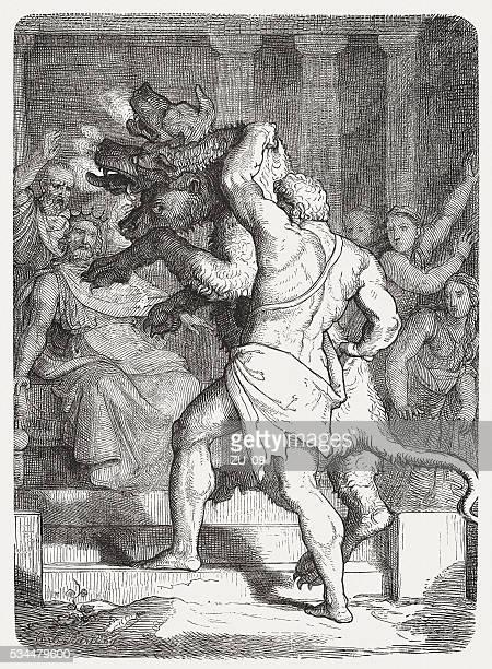 illustrazioni stock, clip art, cartoni animati e icone di tendenza di ercole con cerberus nella parte anteriore di re euristeo, pubblicata 1880 - mitologia greca