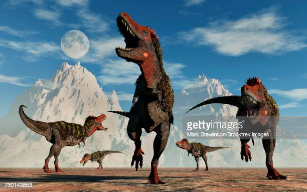 A herd of carnivorous Tarbosaurus dinosaurs.