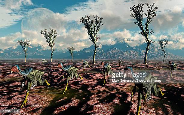 Herd of Caudipteryx displaying bird-like flocking motion.