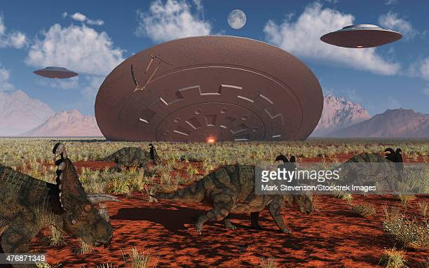 a herd of centrosaurus dinosaurs from the cretaceous period walk past a giant flying saucer lodged into the ground after a bad landing. - buried stock illustrations, clip art, cartoons, & icons