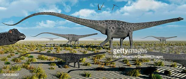 A herd of giant Diplodocus dinosaurs on the move during Earth's Jurassic Period.
