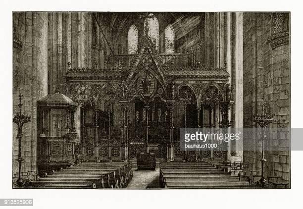 Hereford kathedraal, goddelijke ovaal, christelijke symboliek gravure