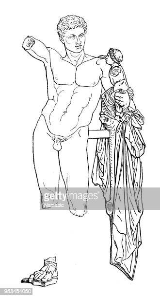 hermes and the infant dionysus, also known as the hermes of praxiteles or the hermes of olympia - ancient olympia greece stock illustrations, clip art, cartoons, & icons
