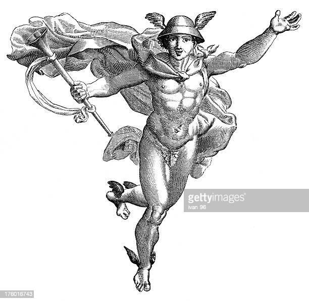 hermes - roman god stock illustrations