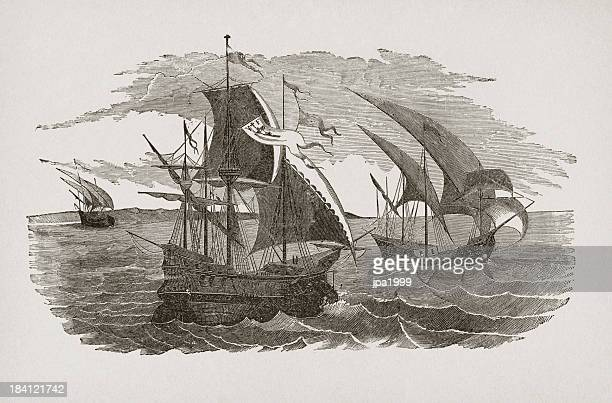 hernán cortés fleet sailing to mexico - 16th century style stock illustrations, clip art, cartoons, & icons