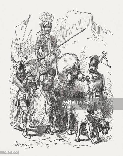 hernando de soto in florida with captured indians (1539) - spanish culture stock illustrations