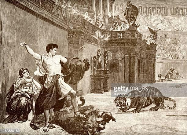 hero in the arena - gladiator stock illustrations