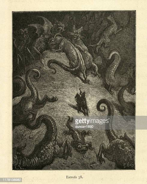 hero surrounded and attacked by monsters. orlando furioso - woodcut stock illustrations, clip art, cartoons, & icons