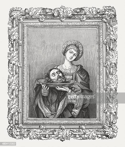 herodias by guido reni (italian painter), published in 1878 - salome stock illustrations