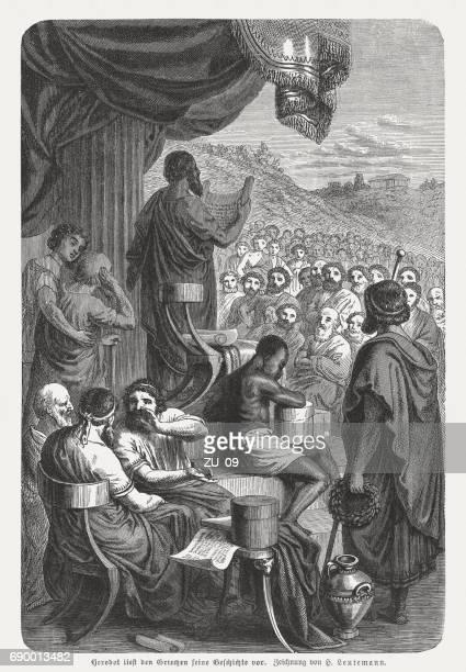 herodotus (c.484-425 bc, ancient greek historian) reads his history - herodotus stock illustrations