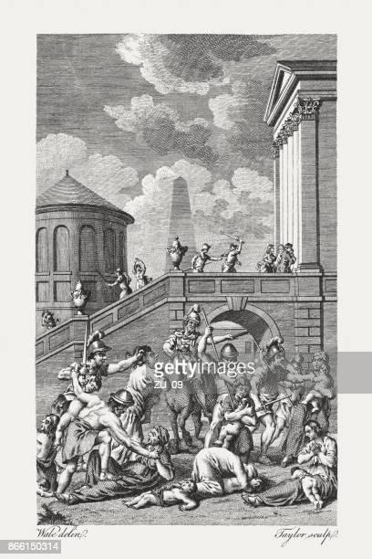 ilustraciones, imágenes clip art, dibujos animados e iconos de stock de masacre de herodes de los inocentes (mateo 2, 16), publicó 1774 - maltrato infantil