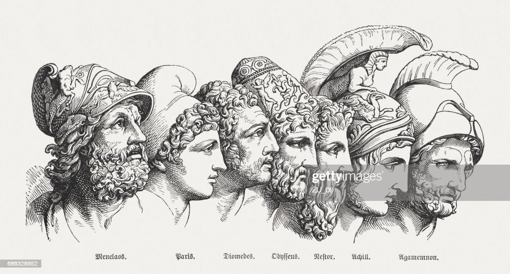 Heroes of the Trojan War, Greek mythology, published in 1880 : stock illustration