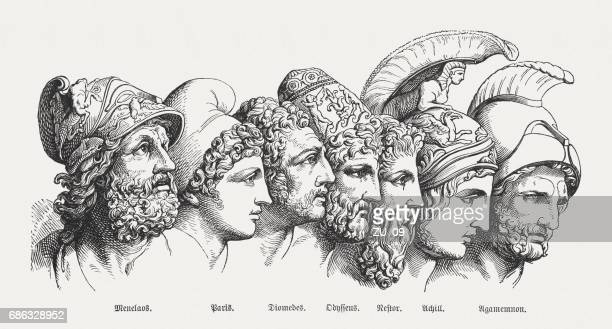 heroes of the trojan war, greek mythology, published in 1880 - classical greek style stock illustrations