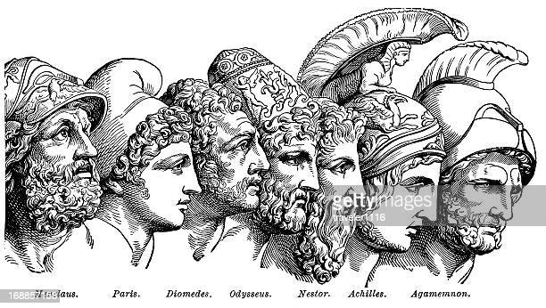 heroes of the trojan war - greek mythology stock illustrations
