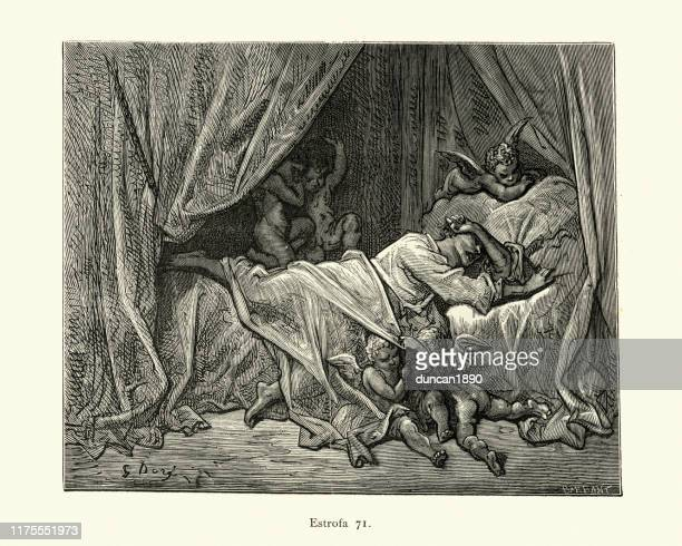 heroes restless sleep, tormented by dreams of love. orlando furioso - teasing stock illustrations, clip art, cartoons, & icons