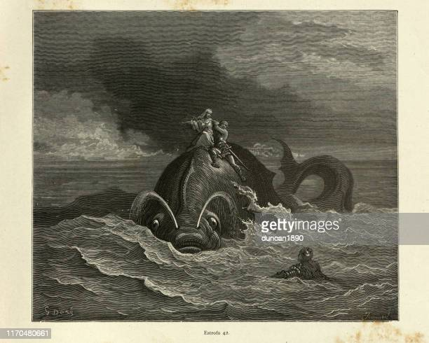 heroes riding of back of sea monster, or whale - mythology stock illustrations