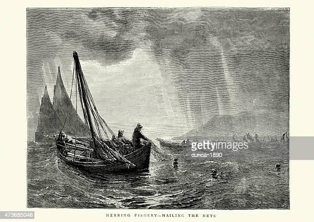 ilustraciones, imágenes clip art, dibujos animados e iconos de stock de la pesca arenque-llamar los net, 1871 - red de pesca