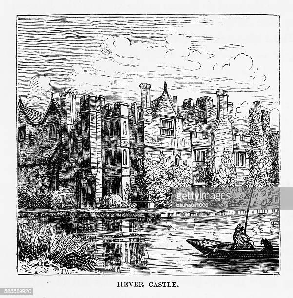 Hever Castle, in Penshurst, England Landmarks Victorian Engraving, 1840