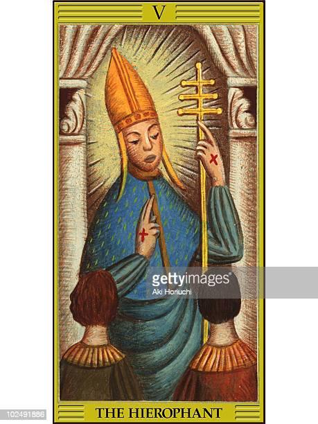hierophant tarot card - tarot cards stock illustrations, clip art, cartoons, & icons