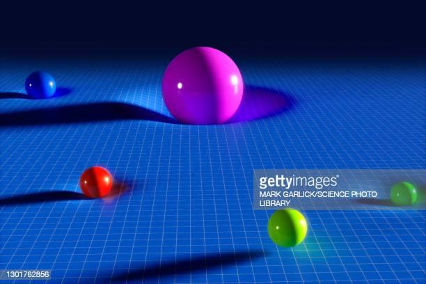 higgs field, conceptual illustration - physics stock illustrations