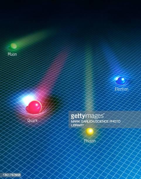 higgs field, conceptual illustration - atom stock illustrations