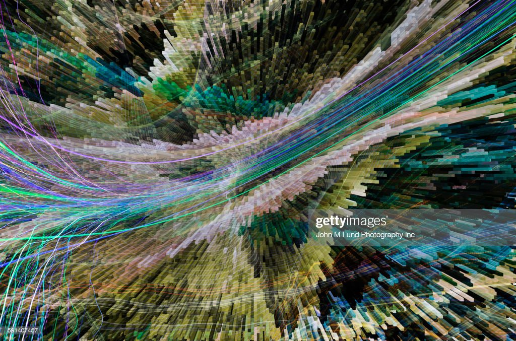 High angle blurred view of pillars and lines : stock illustration