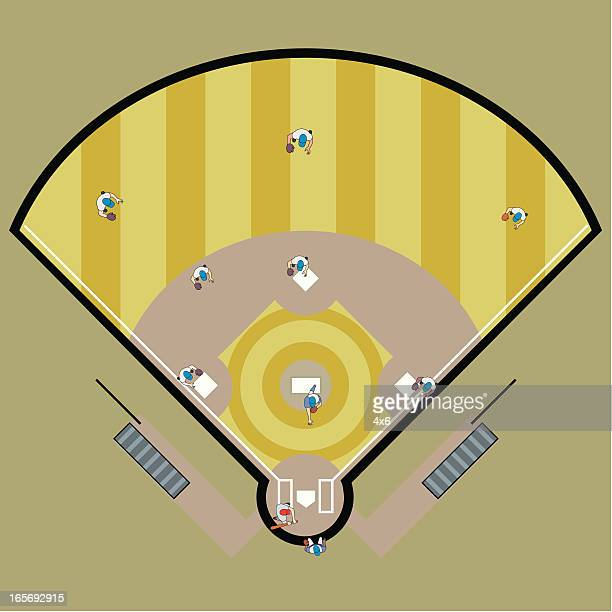 High angle view of a baseball match in progress