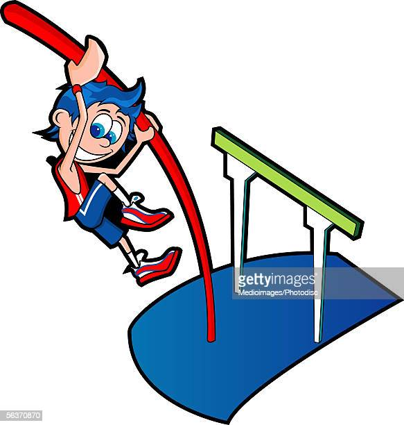 high angle view of a boy pole vaulting - pole vault stock illustrations