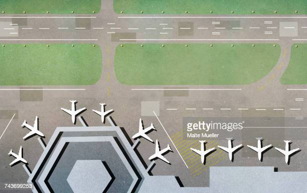 High angle view of airplanes at airport