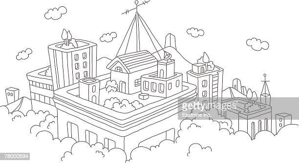 high angle view of buildings - television aerial stock illustrations, clip art, cartoons, & icons