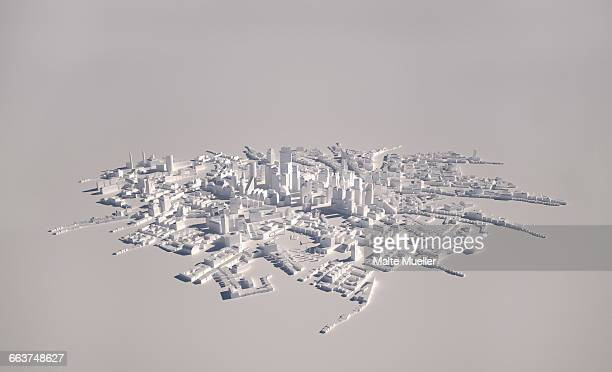 ilustrações, clipart, desenhos animados e ícones de high angle view of cityscape model on gray background - tridimensional