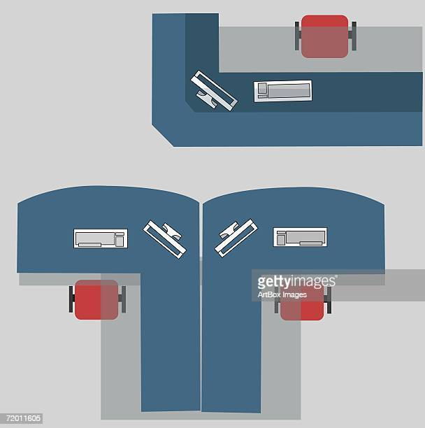 high angle view of cubicles in an office - office chair stock illustrations, clip art, cartoons, & icons