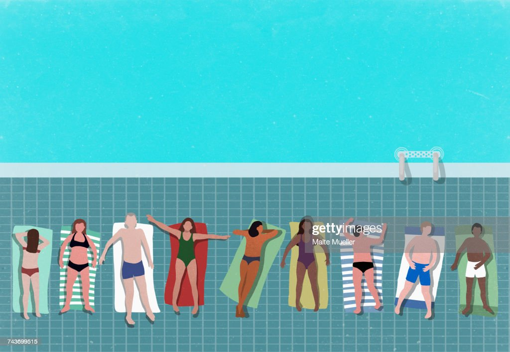 High angle view of people relaxing at poolside : stock illustration