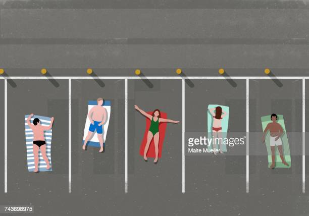 high angle view of people sunbathing in parking lot - road marking stock illustrations