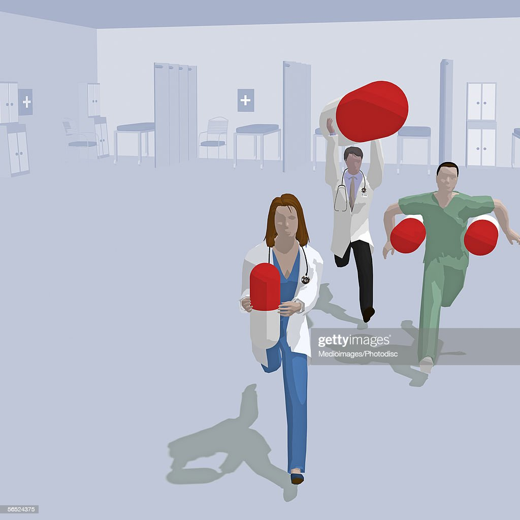 High angle view of three doctor's running with large capsules : stock illustration