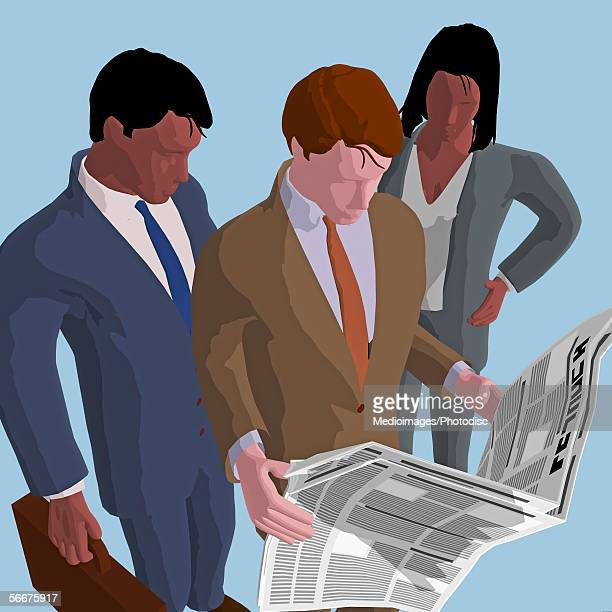 High angle view of two businessmen and a businesswoman reading a newspaper