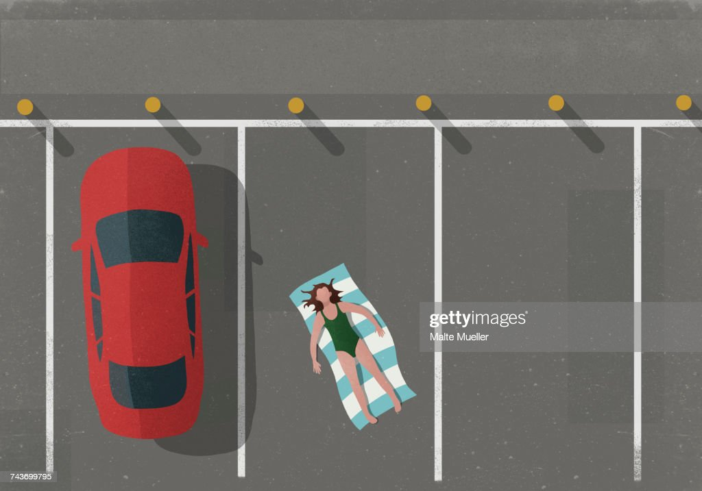 High angle view of woman sunbathing by car in parking lot : stock illustration