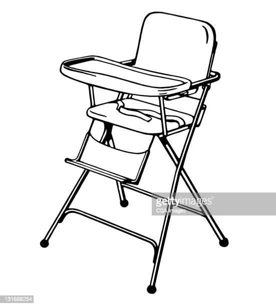 high chair - toddler stock illustrations