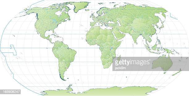 high detail world map robinson projection - intricacy stock illustrations