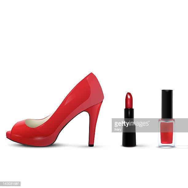 High Heels, Lipstick And Nail Polish