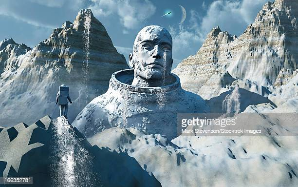 High in the mountains of a distant alien world, a lone astronaut looks upon the gigantic statue of a mysterious humanoid being.
