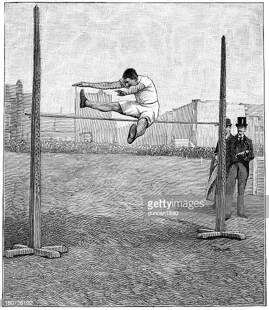 high jump - high jump stock illustrations