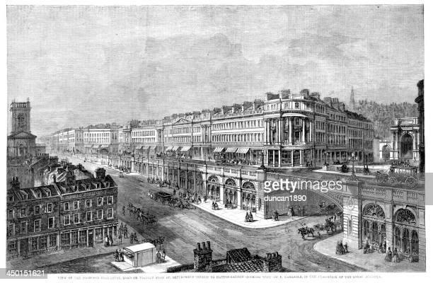 high level road, hatton garden, london - holborn stock illustrations