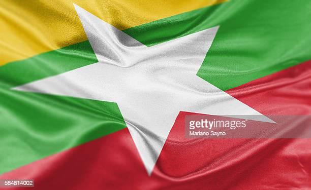 stockillustraties, clipart, cartoons en iconen met high resolution digital render of burma flag - myanmar