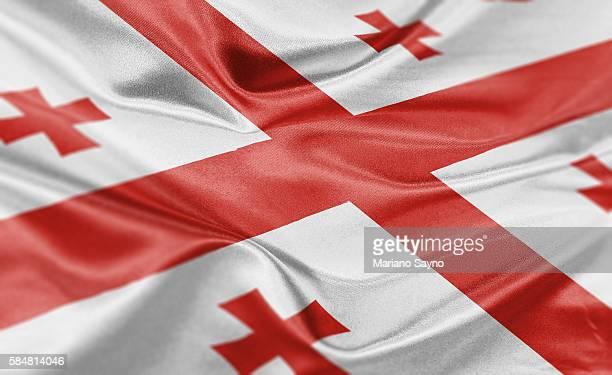 ilustraciones, imágenes clip art, dibujos animados e iconos de stock de high resolution digital render of georgia flag - georgia estado de eeuu