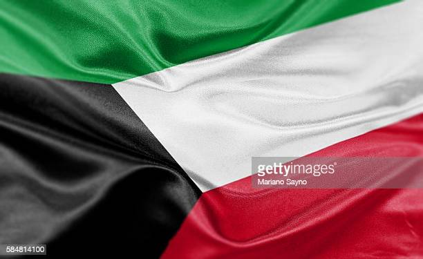 high resolution digital render of kuwait flag - kuwait stock illustrations, clip art, cartoons, & icons