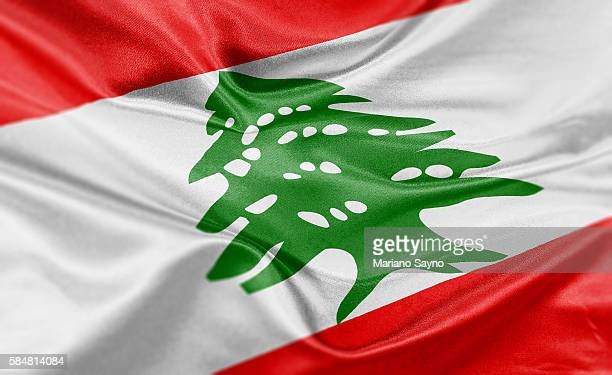 high resolution digital render of lebanon flag - lebanon country stock illustrations, clip art, cartoons, & icons